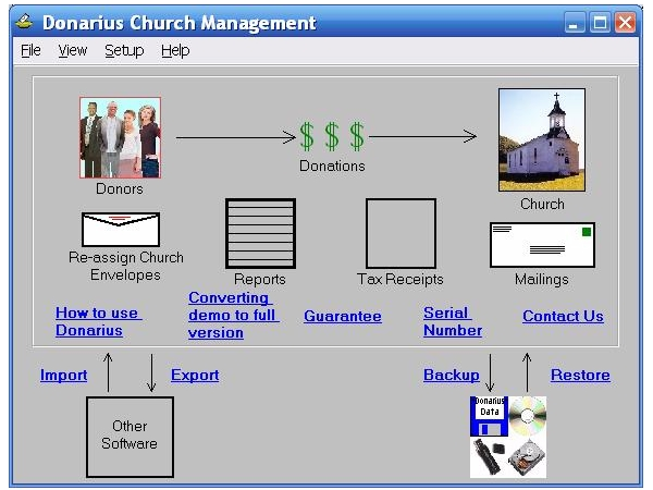 Donarius Church Management Software Screen shot